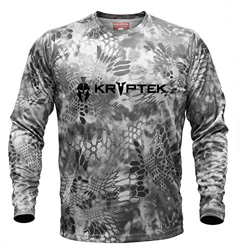 Kryptek Hyperion LS Crew with Logo - Long Sleeve Camo Hunting & Fishing Shirt (K-Ore Collection), Raid, L