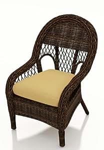 Forever Patio Leona Rattan Patio Dining Chairs with Golden Sunbrella Cushions (SKU FP-LEO-DC-MC-CW)