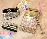 TISHAA Beautiful Bling Diamond White Rhinestone Office, School Supply Gift 4 Piece Set,Great Gift Set/Calculator/Stapler/Tape Dispenser/Bling Pen (White Set- B)