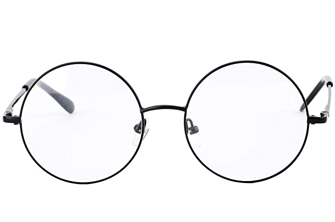 1e2982c89c5 Agstum Retro Round Prescription ready Metal Eyeglass Frame (Large Size)  (Black)