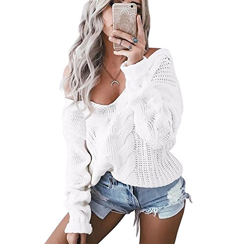 American Stock Femmes  manches longues  encolure en V Sweater chandail Pull Loose Pulls Outwear