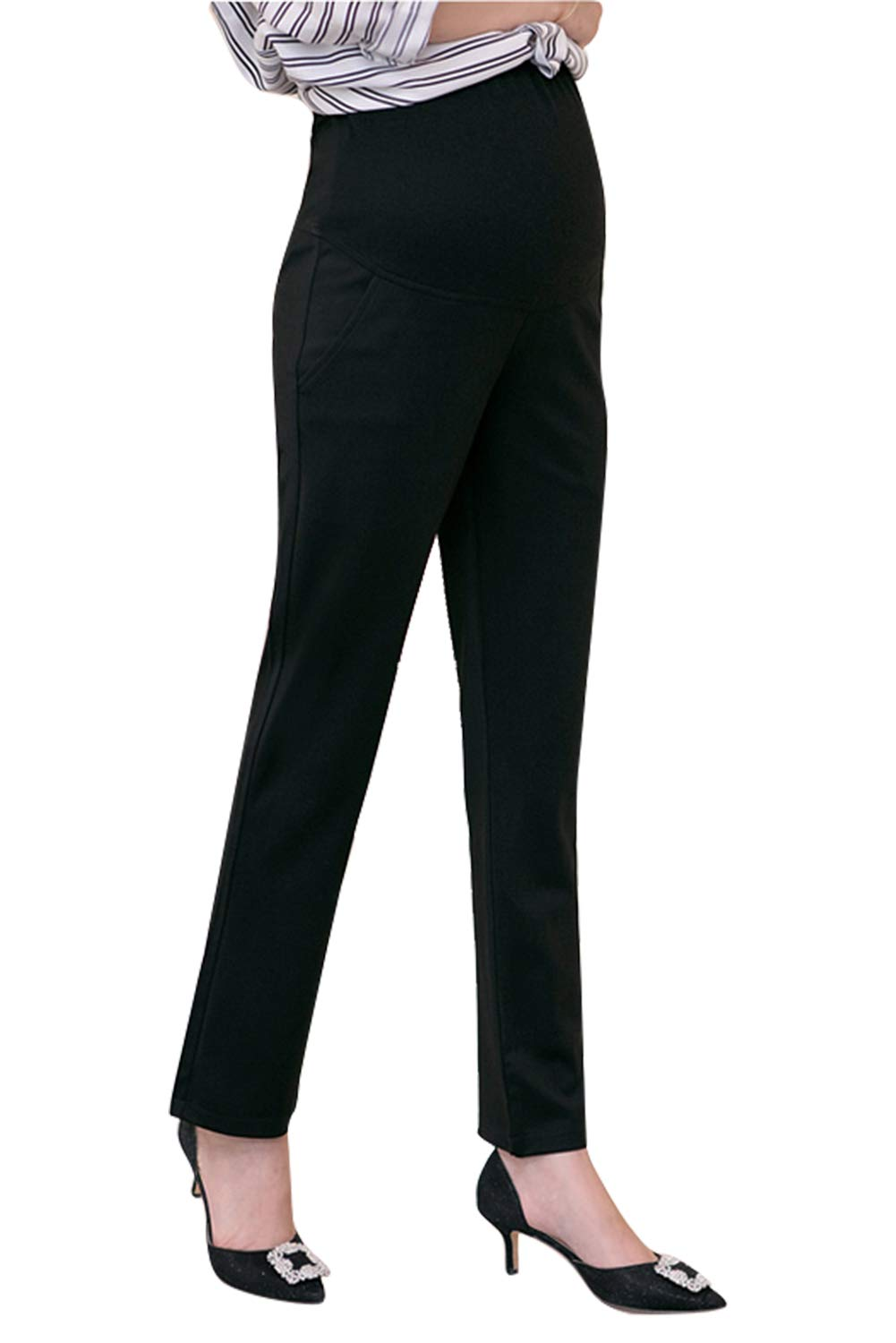 Fengstore Maternity Work Dress Pants Bootcut High Waist Stretch Trousers for Pregnancy Office Women