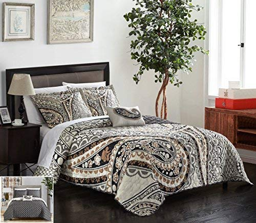 Chic Home 4 Piece Bryson Large Scale Paisley Contemporary Reversible Printed with Embroidered Details. King Quilt Set Beige QS5274-AN