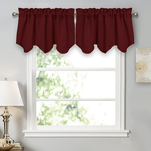 PONY DANCE Home Decor Scalloped Valances for Kitchen Thermal Insulated Blackout Curtain Valances with Rod Pocket for Living Room, 42 x 18 Inch, Burgundy Red, Sold as 1 Pair (And Curtains Kitchen Valances)