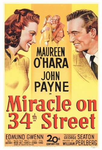 Miracle On 34th Street Poster 27x40 Maureen O'Hara John Payne Edmund - On Shops 34th Street