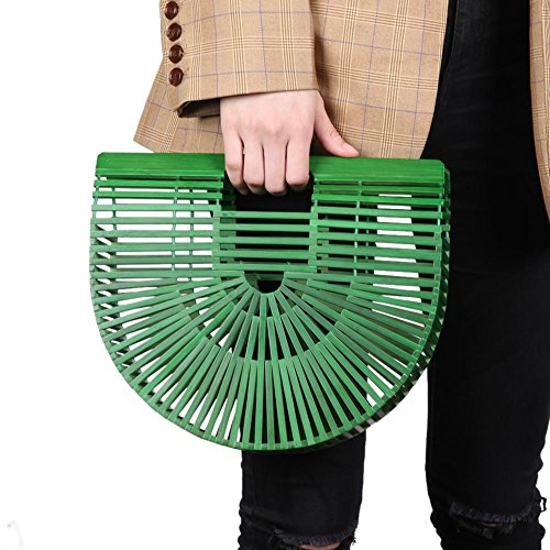Round Bamboo Aediea Bag Women Beach Wood 3 Casual Half Basket Tote Shopping Handbag qgrgZt