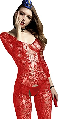 Red Bodystocking (The Victory of Cupid Womens Sexy Fishnet Floral Crotchless Bodysuits Suspender Bodystocking)