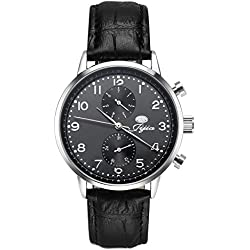 Luismia Leather Watch, Genuine Leather Strap Band Watch with Gold Dial Plate for Adult Men and Women, Japan Movement Time and Date Display Quartz Wrist Watch (Black white)