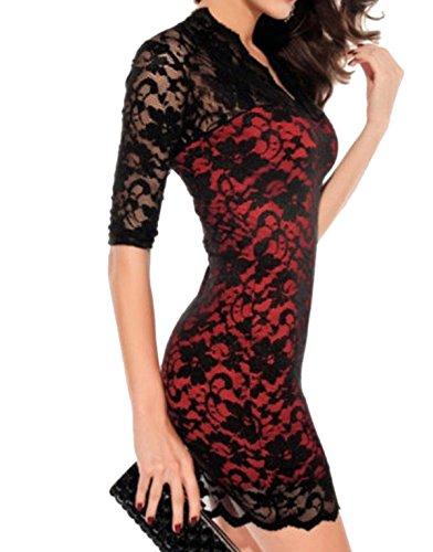 Vestido De Encaje Con Cuello En V Discoteca Sra Multicolor De Varios Tamaños Red2