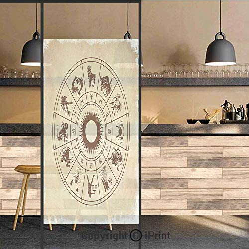 3D Decorative Privacy Window Films,Wheel of Horoscope Icons on Distressed Backdrop Cosmos Occult Print Artwork,No-Glue Self Static Cling Glass Film for Home Bedroom Bathroom Kitchen Office 24x48 Inch ()