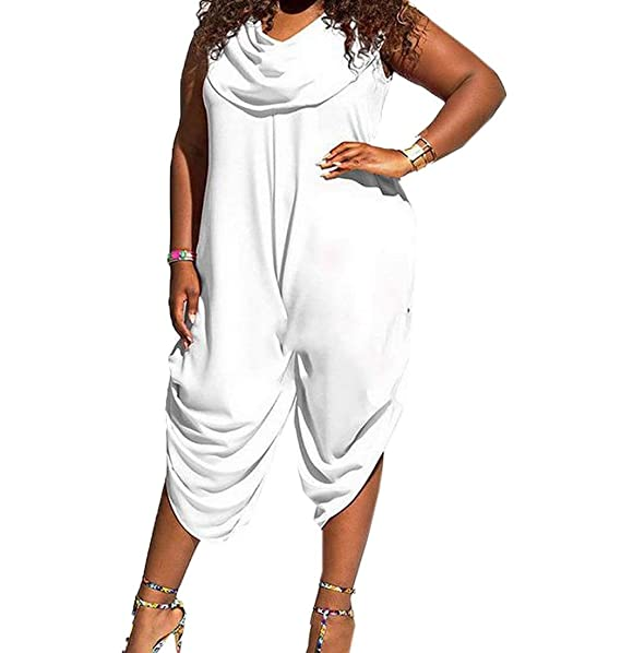 f0f9d12081b xiaokong Women s Plus Size Solid Shawl Collar Playsuit Jumpsuits White M