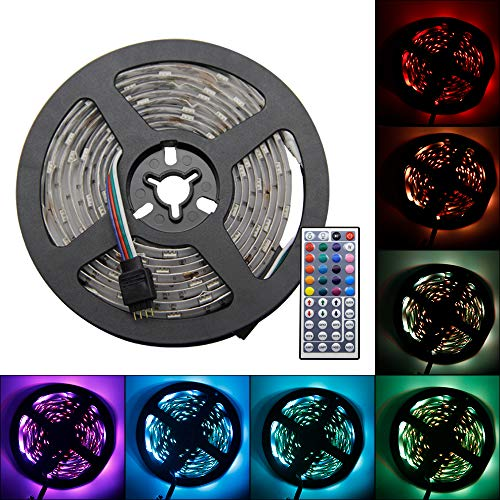 RECHING LED Strip Lights,5050 RGB TV Light,7 Ft (2.5M) 75LED,Roll Light Kit with 44 Keys Remote Controller and Power Supply,Multi-Color Lighting for Holiday Party/House/Garden Decorator-Waterproof by RECHING
