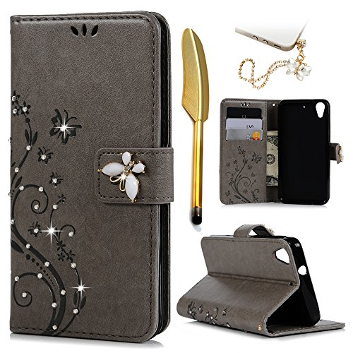 Htc Diamond Design Snap - HTC Desire 626 / 626s Case-MOLLYCOOCLE Stand Wallet Premium PU Leather Bling Diamond Magnetic Emboss Butterfly Hand Wrist Strap TPU Bumper Skin Cover for HTC Desire 626 / 626s & Dust Plug & Stylus Pen