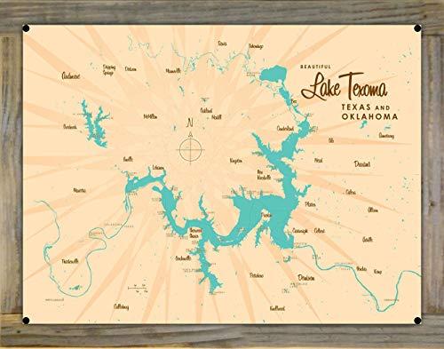 Northwest Art Mall Lake Texoma TX Oklahoma Map Metal Print on Reclaimed Barn Wood by Lakebound (18