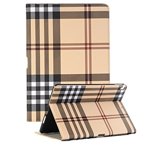 AICOO iPad Pro 10.5 2017 case, Luxury Book Style Stripe Patterned Folio Cover Stand Magnetic Smart Case Multi Function Screen Protective Cover for Apple iPad Pro 10.5 inch 2017,Khaki (Tv Luxury)