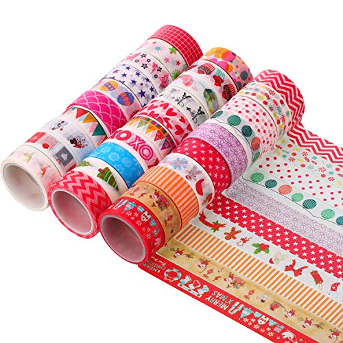 30 Rolls Christmas Washi Tape Decorative Masking Tape Colourful Craft Tape for Gift Wrapping DIY Projects and Party Supplies, 0.6 Inch x 16.4 Feet (Diy Tape Duct Christmas Gifts)