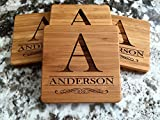 Personalized Wedding Gifts and Bridal Shower Gifts – Monogram Wood Coasters for Drinks (Set of 4, Anderson Design) Review