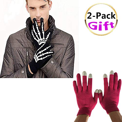 Touchscreen Gloves Texting, Winter Knit Gloves for Women Man,Solid Color 2 Pack