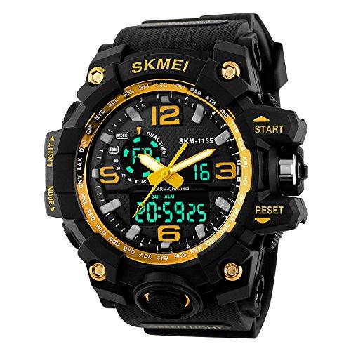 BesWLZ Men Large Dual Dial Analog Digital Quartz Multifunction 50M Water Resistant Watches Yellow