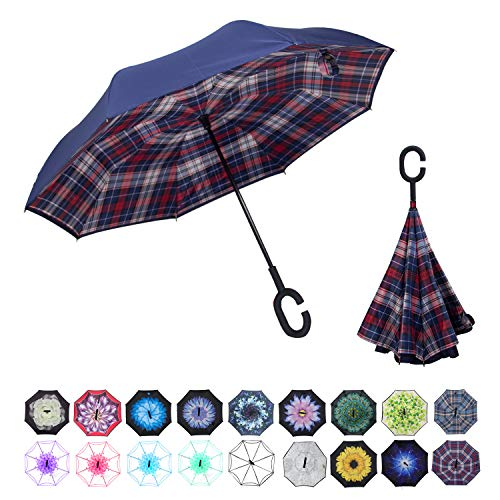 WASING Inverted Umbrella Double Layer Windproof Reverse Umbrella for Car and Outdoor Use (Red Plaid)