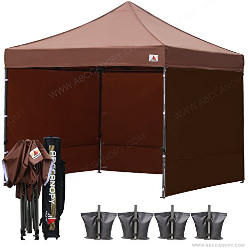 (18+ colors)AbcCanopy 8ft by 8ft Ez Pop up Canopy Tent Commercial Instant Gazebos with 4 Removable Sides and Roller Bag and 4x Weight Bag (brown)