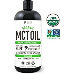 USDA Organic MCT Oil Made from only Coconut (32oz) ~ Non-GMO Project Veified, Vegan, Keto and Paleo Diet Certified ~ Great for Coffee,Tea, Smoothies & Salad Dressings ~ Unflavored