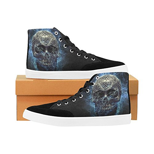 D-Story Custom Skull High Top Shoes For Men Canvas Shoes Fashion Sneaker F5oJeSx9