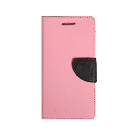 Avzax Luxury Magnetic Lock Diary Wallet Style Flip Cover Case for Lava Iris Fuel F1   Pink Cases   Covers