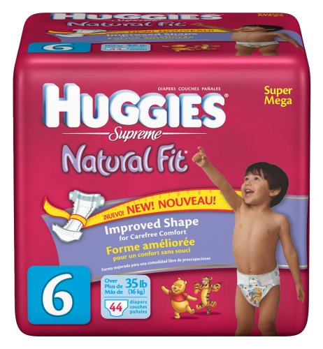 Huggies Natural Fit Diapers, Size 6, 44-Count (Pack of 2) by HUGGIES
