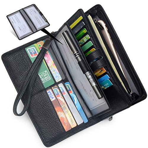Women's Big Fat Rfid Leather Wristlet Wallet Organizer Large Phone Checkbook Holder with Zipper Pocket (Black)