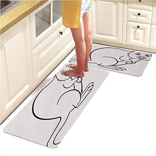 Pebbles Page Alphabet (Rugs Runner Rug -Non Skid Carpet Entry Rugs Runners for Kitchen and Entryway,Coloring Pages Little Cute Quokka Smiles (18