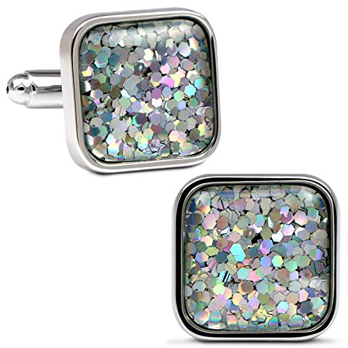 (VIILOCK Fancy Nebula Mother of Pearl Square Cufflinks Deep Space Cuff Links Set (Dazzling White))