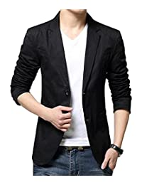 Mens Slim Fit Single Breasted Peaked Lapel 2 Buttons Jacket Blazer