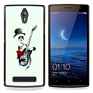 Music Rock Guitar Hat Art White Hair Man Caja protectora de pl??stico duro Dise?¡Àado King Case For Oppo Find 7 X9007