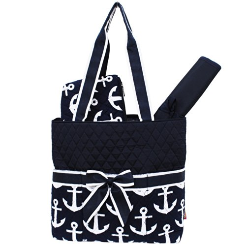 Navy Anchor Print NGIL Quilted 3pcs Diaper Bag