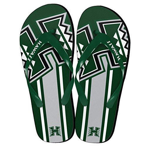 NCAA Hawaii Rainbow Warriors Big Logo Flip Flop, Large, Green by Forever Collectibles