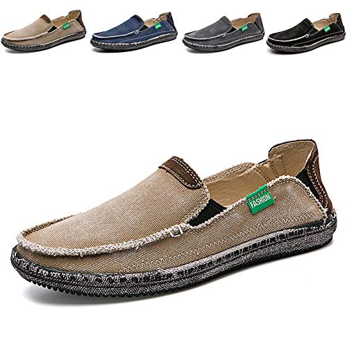 (CASMAG Men's Slips On Loafers Flat Canvas Moccasins Boat Shoes for Driving Weeding Outdoor Khaki 2 US 6.5 M)