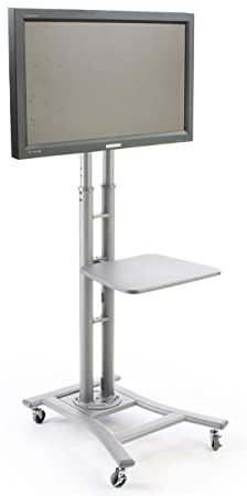 Portable Flat Screen TV Stand for 32 to 70 Monitors Has Locking Castors and Optional Shelf – Silver