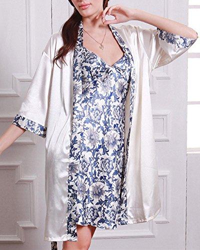 Mujer Corto Manga Pijama Sleepwear Satín Conjuntos Vestido Camisón De Dos Piezas Style 1