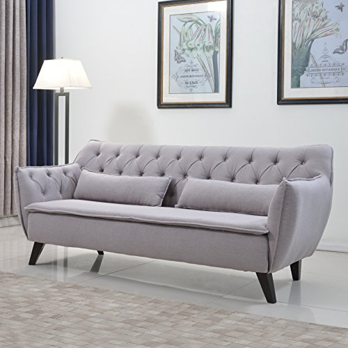 Mid Century Modern Tufted Linen Fabric Sofa in Colors Dark Grey, Light Grey, and Purple (Light Grey) (Linen Tufted Couch)