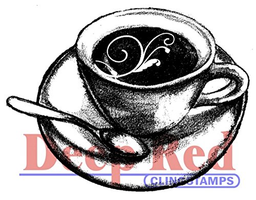 Deep Red Stamps Flourish Latte Rubber Stamp (Rubber Stamps Flourish)