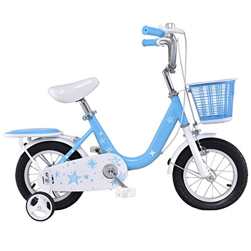 Goplus Kids Bike Boy's and Girl's Bicycle with Training Wheels and Basket Perfect Gift for Kids, 12