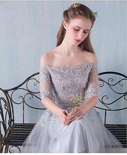 damigella Beauty Emily dalla Blu Lace Midi Bambina trasparente fuori spalla d'onore qRnO6RZH0