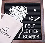 #8: Letter Board Premium Felt 10x10 Wooden - 346 White/Glow in the Dark Letter and Emojis, Durable Canvas Bag, Sturdy Wall Mount, Beautiful Dark Finished Oak Frame, Perfect for Home and Office