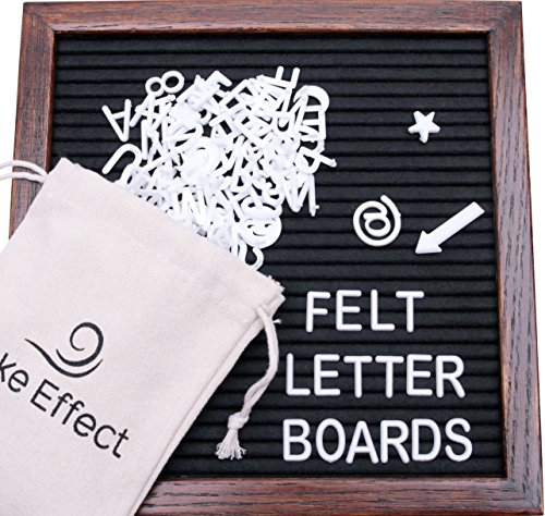 Letter Board Premium Felt 10x10 Wooden - 346 White/Glow in the Dark Letter and Emojis, Durable Canvas Bag, Sturdy Wall Mount, Beautiful Dark Finished Oak Frame, Perfect for Home and Office