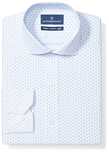 BUTTONED DOWN Men's Tailored Fit Cutaway-Collar Pattern Non-Iron Dress Shirt, White/Blue Diamond Micro Check, 17.5