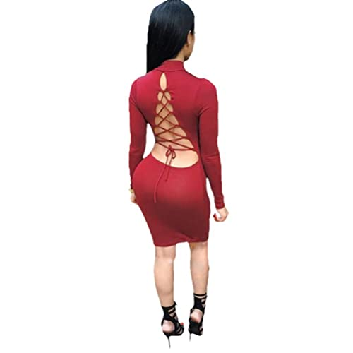 laiyuan Women Sexy Long Sleeve Autumn Warm Stretch Bodycon Party Bandage Dresses