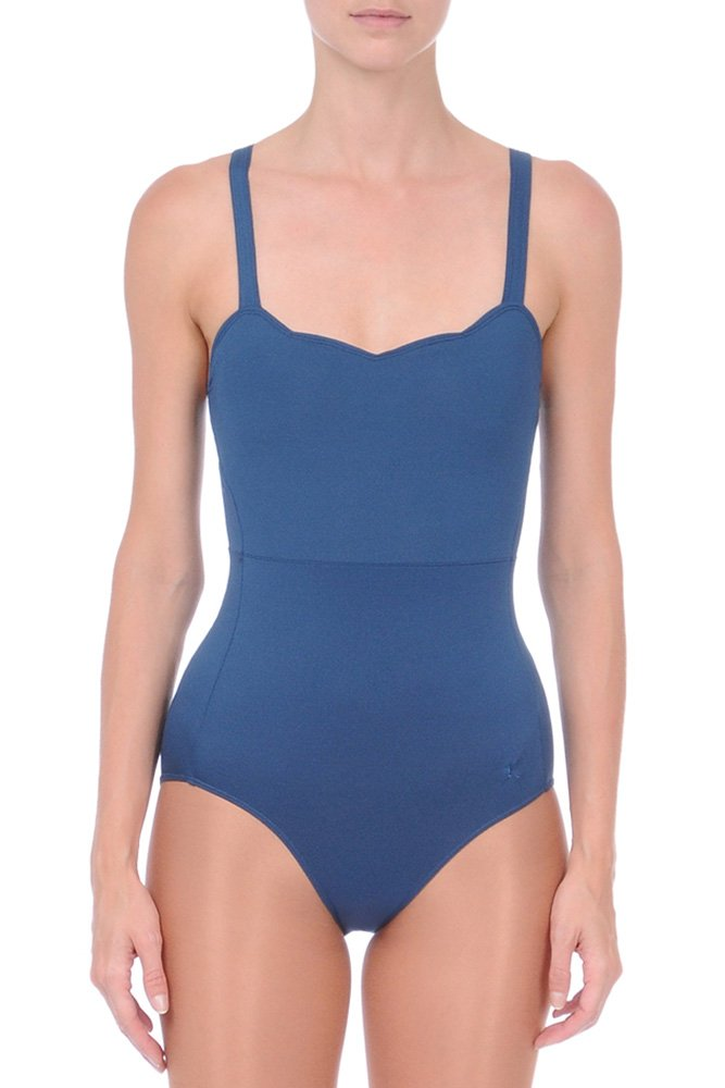 Danskin Womens Women Leotard Scallop Neckline With Straight Back Sapphire Small