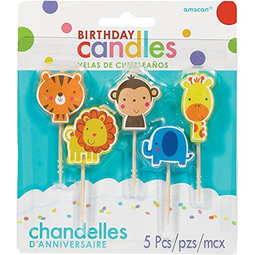 Jungle Animal Pick Birthday Candles | Party Supply (Cakes Animal Birthday)