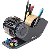 Spin Wheel DeskTop Tape Dispenser With 2 Rolls 3inch Core Transparent Tape , Black, (6 Pre-Cut Tapes Per Spin)
